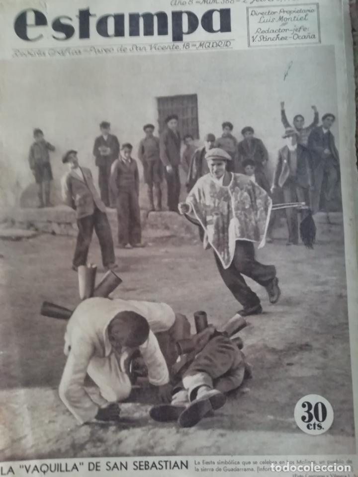 REVISTA ESTAMPA 1935 LA VAQUILLA DE SAN SEBASTIAN -BRUJAS EN EL PAIS VASCO(ATAUN)-NITA GUERRI (Coleccionismo - Revistas y Periódicos Antiguos (hasta 1.939))