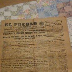 Coleccionismo de Revistas y Periódicos: EL PUEBLO.DIARIO PARTIDO SINDICALISTA.VALENCIA 1938. GUERRA CIVIL.. Lote 182909556