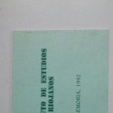 Coleccionismo de Revistas y Periódicos: INSTITUTO DE ESTUDIOS RIOJANOS. MEMORIA 1992. TDKLT2. Lote 183186866