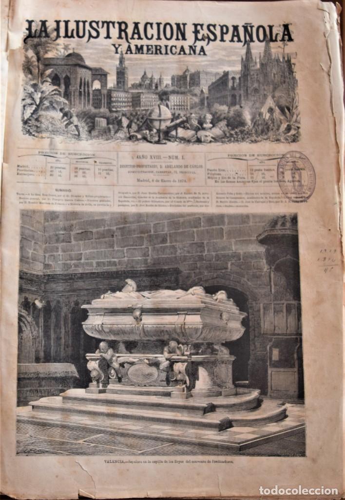 Coleccionismo de Revistas y Periódicos: TOMO LA ILUSTRACIÓN ESPAÑOLA Y AMERICANA AÑO COMPLETO 1874 - TERCERA GUERRA CARLISTA, SITIO BILBAO - Foto 5 - 183513931