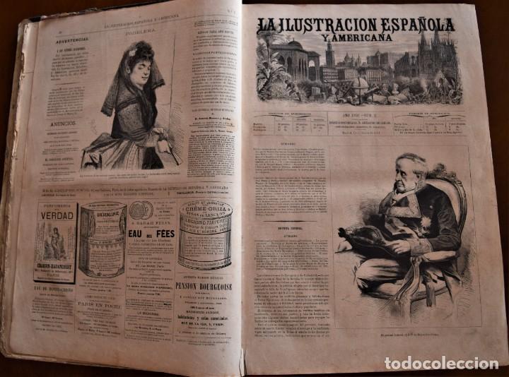Coleccionismo de Revistas y Periódicos: TOMO LA ILUSTRACIÓN ESPAÑOLA Y AMERICANA AÑO COMPLETO 1874 - TERCERA GUERRA CARLISTA, SITIO BILBAO - Foto 7 - 183513931