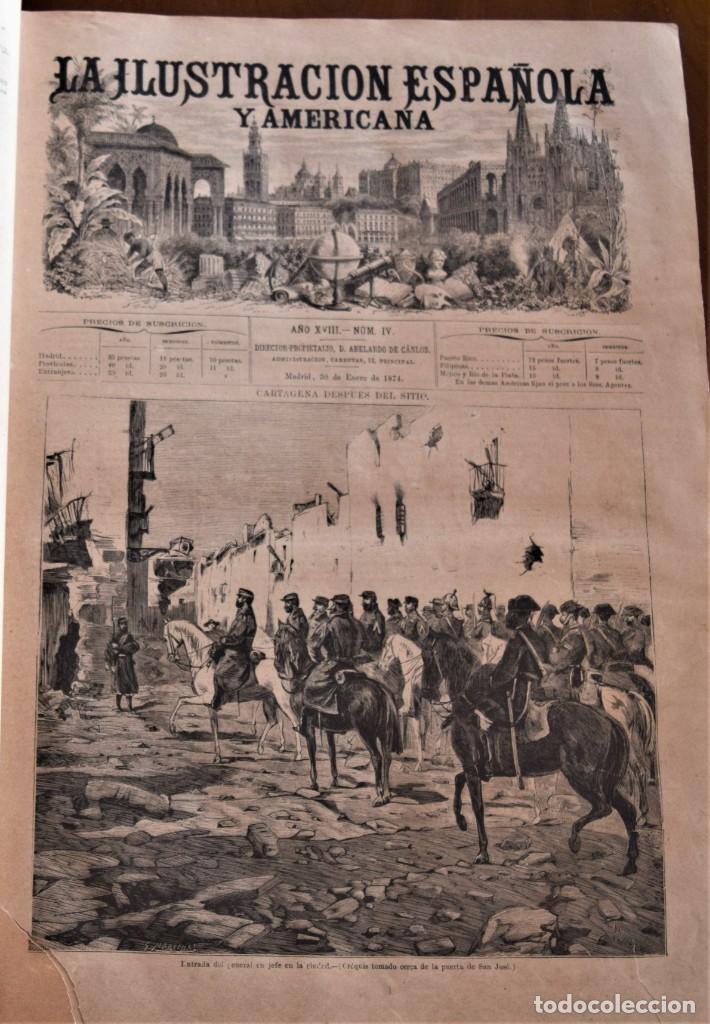 Coleccionismo de Revistas y Periódicos: TOMO LA ILUSTRACIÓN ESPAÑOLA Y AMERICANA AÑO COMPLETO 1874 - TERCERA GUERRA CARLISTA, SITIO BILBAO - Foto 8 - 183513931