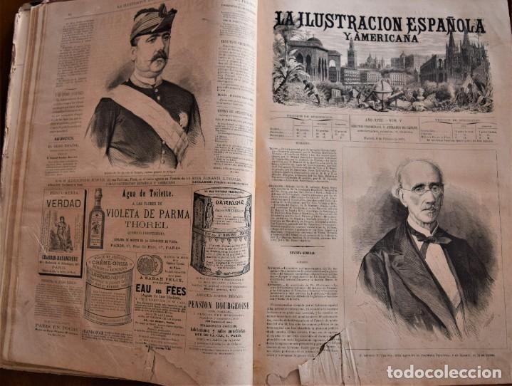Coleccionismo de Revistas y Periódicos: TOMO LA ILUSTRACIÓN ESPAÑOLA Y AMERICANA AÑO COMPLETO 1874 - TERCERA GUERRA CARLISTA, SITIO BILBAO - Foto 9 - 183513931