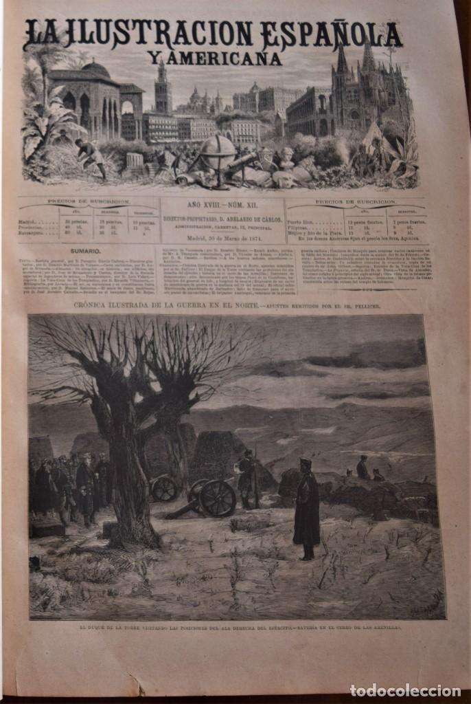 Coleccionismo de Revistas y Periódicos: TOMO LA ILUSTRACIÓN ESPAÑOLA Y AMERICANA AÑO COMPLETO 1874 - TERCERA GUERRA CARLISTA, SITIO BILBAO - Foto 12 - 183513931