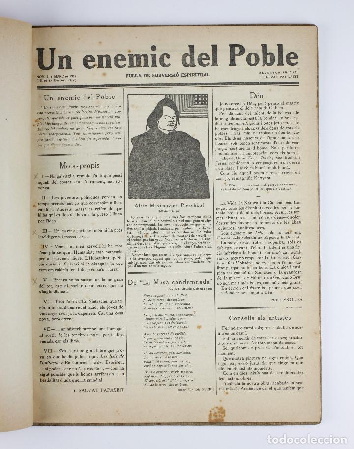 Coleccionismo de Revistas y Periódicos: UN ENEMIC DEL POBLE - JOAN SALVAT-PAPASSEIT. Revista original año 1917-1919. - Foto 6 - 183779416