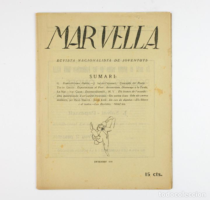 MAR VELLA - REVISTA NACIONALISTA DE JOVENTUTS. ANY I - DESEMBRE 1919. Nº 4. (Coleccionismo - Revistas y Periódicos Antiguos (hasta 1.939))