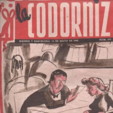 Coleccionismo de Revistas y Periódicos: LA CODORNIZ Nº 197 - 13 MAYO 1945. Lote 183838603