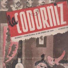 Coleccionismo de Revistas y Periódicos: LA CODORNIZ Nº 181 - 21 ENERO 1945. Lote 183842577