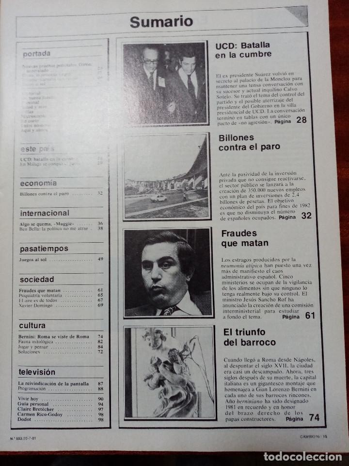 Coleccionismo de Revistas y Periódicos: CAMBIO 16 Nº 503-1981 - GIRON ACORRALADO - EXCLUSIVA 23-J EL SECUESTRO DEL REY - MOTO BMW - Foto 3 - 183844753