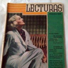 Coleccionismo de Revistas y Periódicos: REVISTA LECTURAS. E. MULDER, CELIA LUENGO. J. BENAVENTE... ILUSTRAC. FREIXAS, LONGORIA.DIC1936. Lote 184152478