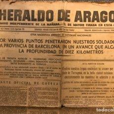 Coleccionismo de Revistas y Periódicos: GUERRA CIVIL. PERIODICO: HERALDO DE ARAGON. NO.15114, 18 DE ENERO DE 1939. EN EL FRENTE DE CATALUÑA. Lote 186227062