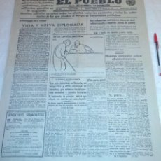 Coleccionismo de Revistas y Periódicos: DIARIO EL PUEBLO (PARTIDO SINDICALISTA, EDITADO EN VALENCIA) 13 DE AGOSTO DE 1937 (GUERRA CIVIL). Lote 187123727