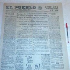 Coleccionismo de Revistas y Periódicos: DIARIO EL PUEBLO (PARTIDO SINDICALISTA, EDITADO EN VALENCIA) 14 DE AGOSTO DE 1937 (GUERRA CIVIL). Lote 187123776