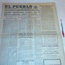 Coleccionismo de Revistas y Periódicos: DIARIO EL PUEBLO (PARTIDO SINDICALISTA, EDITADO EN VALENCIA) 19 DE MARZO DE 1937 (GUERRA CIVIL). Lote 187123966