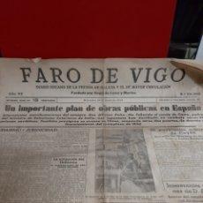 Coleccionismo de Revistas y Periódicos: FARO VIGO AÑO 87 28.6.1939 NÚMERO 22.295 .PLAN OBRAS PÚBLICAS CAUDILLO LUGO.JUDAISMO Y JURIDICIDAD... Lote 187166010