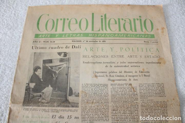 Coleccionismo de Revistas y Periódicos: PERIÓDICO: CORREO LITERARIO (1 de Noviembre de 1951) - DALÍ, PICASSO, GABRIELA MISTRAL..... - Foto 2 - 187430472