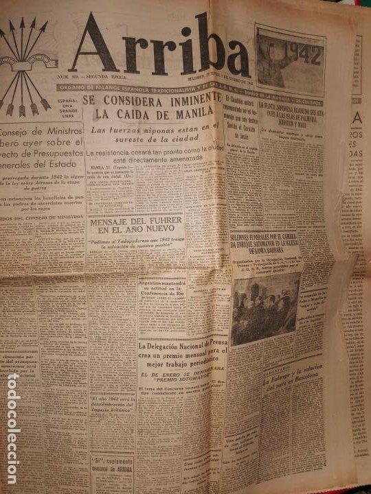 Coleccionismo de Revistas y Periódicos: Periodico Arriba numero 859 Jueves 1 de Enero de 1942 - Foto 8 - 188819920