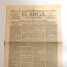 Coleccionismo de Revistas y Periódicos: PRIMER NÚMERO DE EL ARGA - 1879 NAVARRA. Lote 189377270