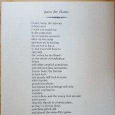Coleccionismo de Revistas y Periódicos: CHARLES BUKOWSKI - ''POEM FOR DANTE'' (PLIEGO IMPRESO A MANO, 2017). Lote 189583916