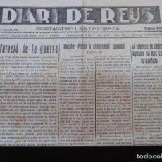 Coleccionismo de Revistas y Periódicos: GUERRA CIVIL - DIARI DE REUS 14-11-1937 - LA DURACIO DE LA GUERRA. Lote 189810280