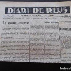 Coleccionismo de Revistas y Periódicos: GUERRA CIVIL - DIARI DE REUS 16-11-1937 - LA QUINTA COLUMNA. Lote 189810443