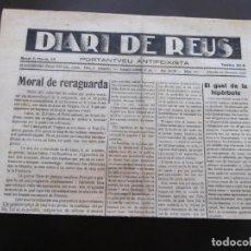 Coleccionismo de Revistas y Periódicos: GUERRA CIVIL - DIARI DE REUS 20-11-1937 - MORAL DE RERAGUARDA - EL GUST DE LA HIPERBOLE. Lote 189812185