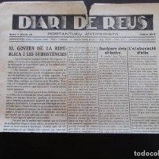 Coleccionismo de Revistas y Periódicos: GUERRA CIVIL - DIARI DE REUS 25-11-1937 - EL GOVERN DE LA REPUBLICA I LES SUBSISTENCIES. Lote 189837196
