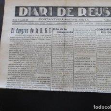 Coleccionismo de Revistas y Periódicos: GUERRA CIVIL - DIARI DE REUS 28-11-1937 - EL CONGRES DE LA U.G.T - EL TO DE LA RERAGUARDA.. Lote 189838478