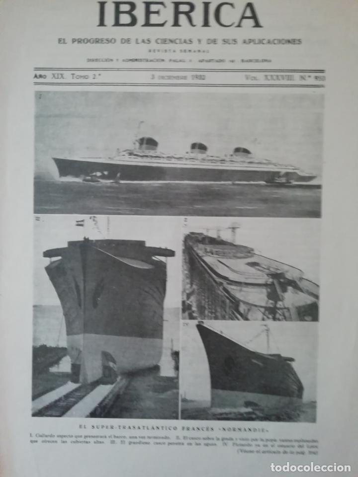 IBERICA Nº953 1932 EXCURSIONES CIENTIFICAS SOBRADIEL(ZARAGOZA) (Coleccionismo - Revistas y Periódicos Antiguos (hasta 1.939))