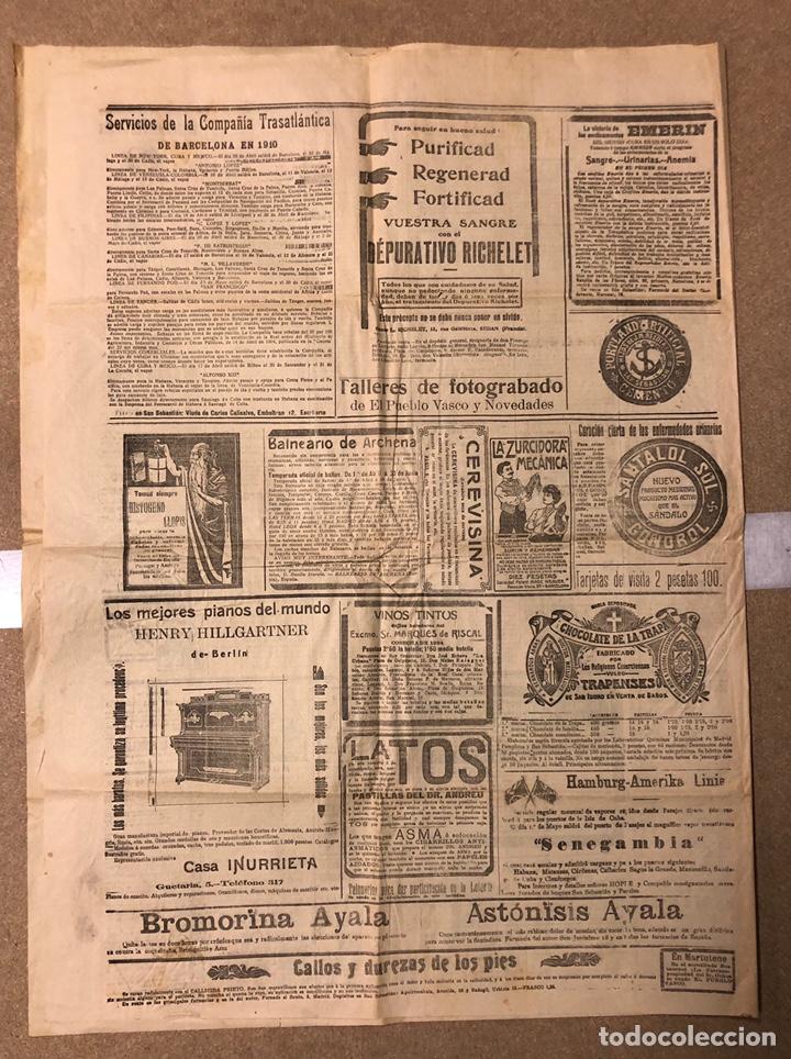 Coleccionismo de Revistas y Periódicos: EL PUEBLO VASCO (DIARIO INDEPENDIENTE), SAN SEBASTIÁN 20 DE ABRIL DE 1910. ANTIGUO PERIÓDICO VASCO. - Foto 3 - 190869032