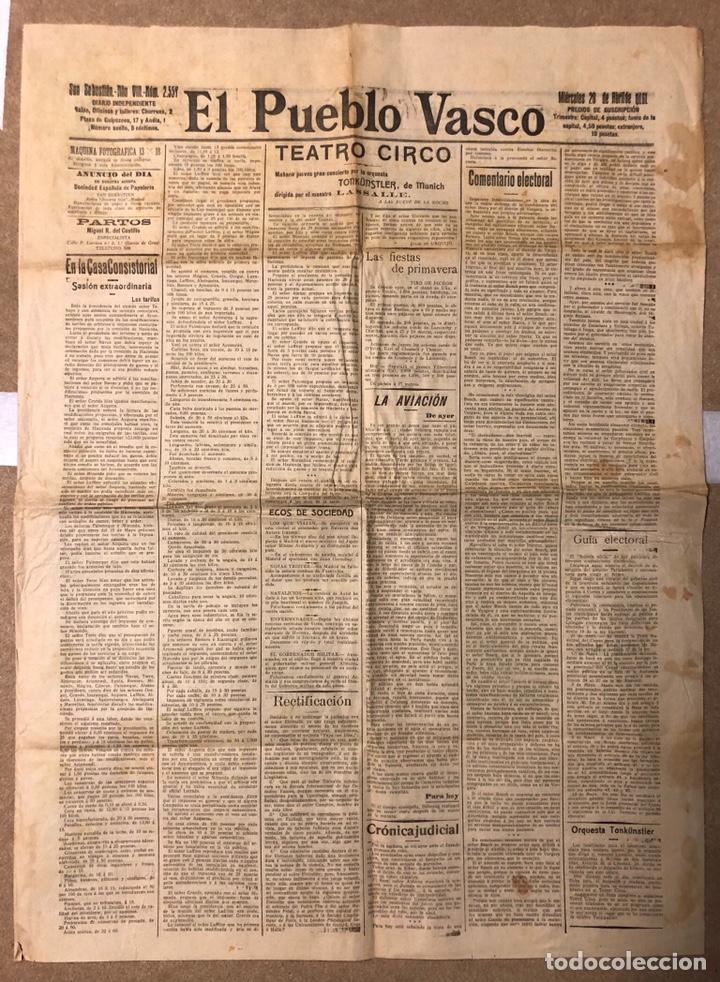 EL PUEBLO VASCO (DIARIO INDEPENDIENTE), SAN SEBASTIÁN 20 DE ABRIL DE 1910. ANTIGUO PERIÓDICO VASCO. (Coleccionismo - Revistas y Periódicos Antiguos (hasta 1.939))