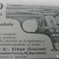 Coleccionismo de Revistas y Periódicos: NUEVA PISTOLA BUFALO TRIPLE SEGURO CALIBRE S 6,35 Y 7,65 BERISTAIN EIBAR HOJA REVISTA AÑO 1919. Lote 191205418