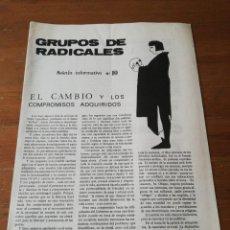 Coleccionismo de Revistas y Periódicos: REVISTA GRUPOS DE RADICALES. NÚMERO 10. AÑOS 70.. Lote 191454566
