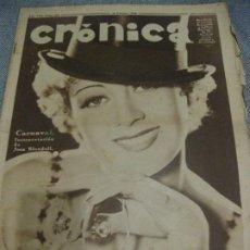 Coleccionismo de Revistas y Periódicos: PERIODICO CRONICA 1936 Nº 328 ELECCIONES EN BARCELONA Y MADRID . MODELOS DE ARTISTAS. Lote 192122225
