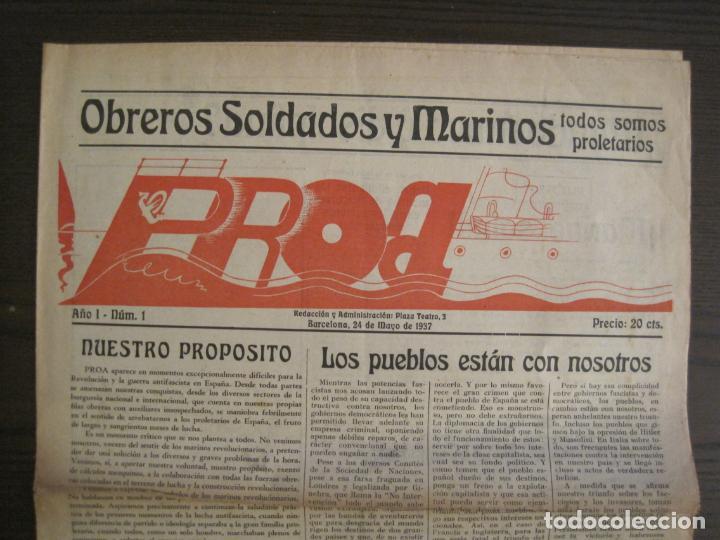 Coleccionismo de Revistas y Periódicos: GUERRA CIVIL-PROA-Nº1-BARCELONA AÑO 1937-OBREROS SOLDADOS Y MARINOS-VER FOTOS-(V-18.846) - Foto 2 - 192822787