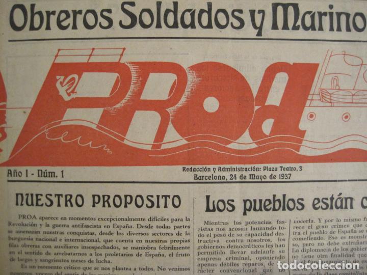 Coleccionismo de Revistas y Periódicos: GUERRA CIVIL-PROA-Nº1-BARCELONA AÑO 1937-OBREROS SOLDADOS Y MARINOS-VER FOTOS-(V-18.846) - Foto 3 - 192822787