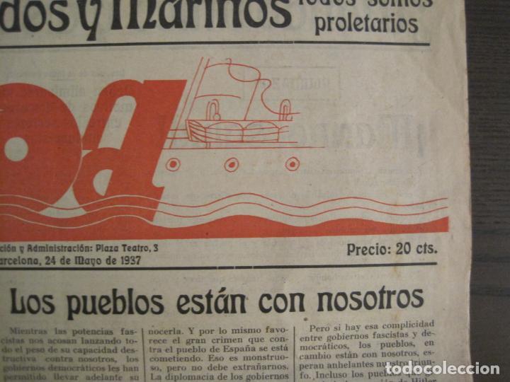 Coleccionismo de Revistas y Periódicos: GUERRA CIVIL-PROA-Nº1-BARCELONA AÑO 1937-OBREROS SOLDADOS Y MARINOS-VER FOTOS-(V-18.846) - Foto 4 - 192822787