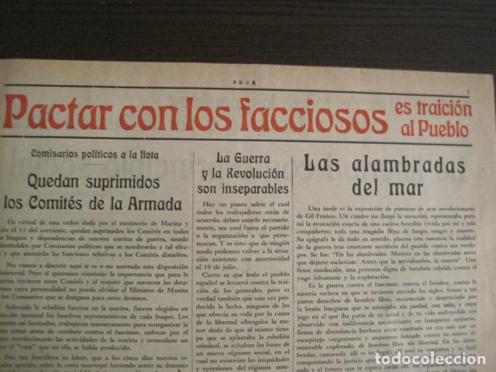 Coleccionismo de Revistas y Periódicos: GUERRA CIVIL-PROA-Nº1-BARCELONA AÑO 1937-OBREROS SOLDADOS Y MARINOS-VER FOTOS-(V-18.846) - Foto 7 - 192822787