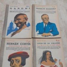 Coleccionismo de Revistas y Periódicos: LOTE DE CUATRO NOVELAS BIBLIOGRAFICAS DE LA PUBLICACION SEMANAL NOVELAS Y CUENTOS .. Lote 192881583