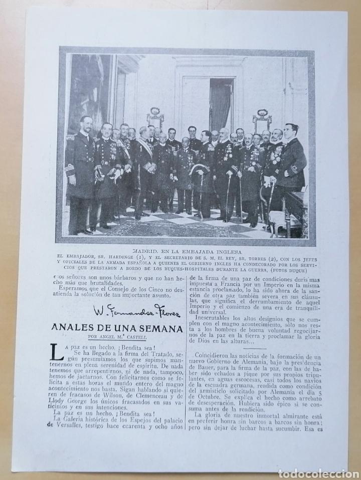 DOBLE PÁGINA / MADRID, EN LA EMBAJADA INGLESA - SAN SEBASTIÁN, LA FIESTA DEL ÁRBOL / 1919 (Coleccionismo - Revistas y Periódicos Antiguos (hasta 1.939))