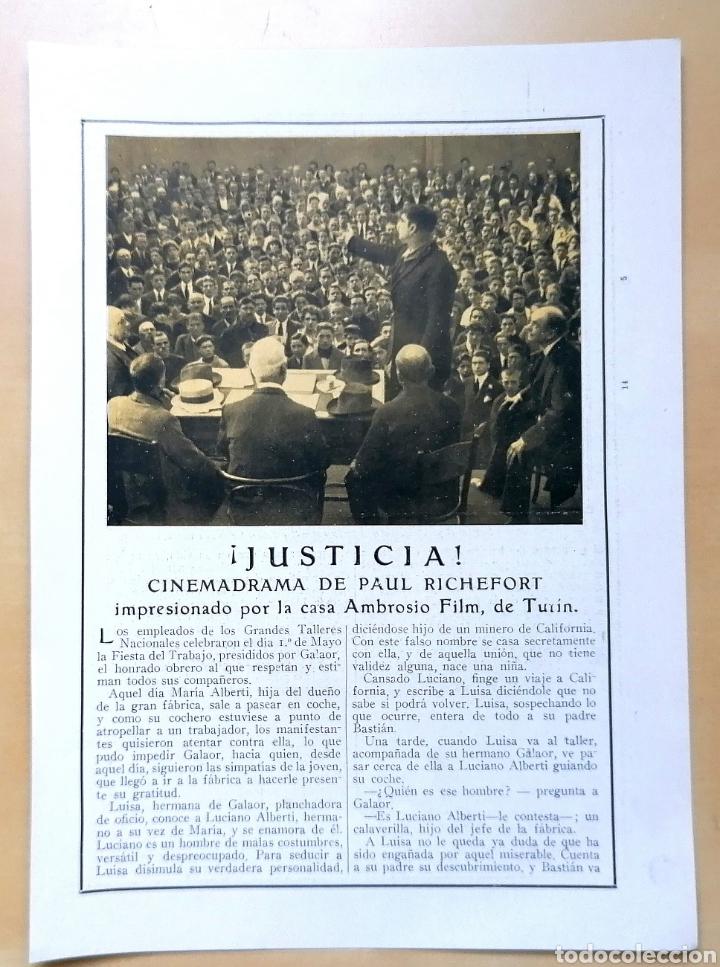 4 HOJAS / ¡JUSTICIA!, CINEMADRAMA DE PAUL RICHEFORT, IMPRESIONADO CASA AMBROSIO FILM, TURIN - 1919 (Coleccionismo - Revistas y Periódicos Antiguos (hasta 1.939))