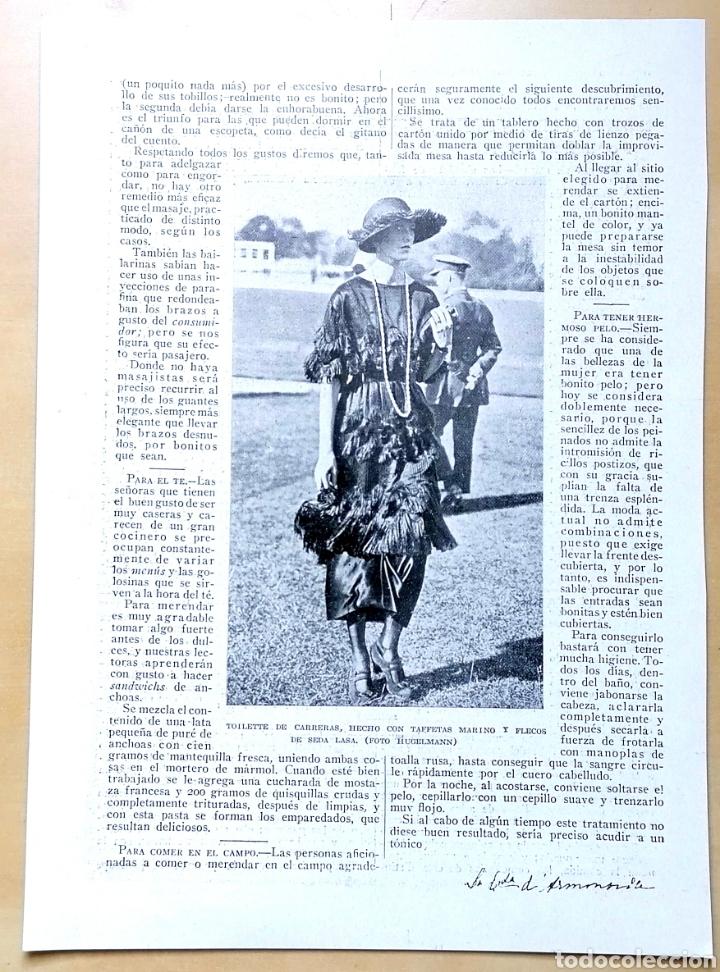 Coleccionismo de Revistas y Periódicos: Dos hojas - Páginas Femeninas, La Mujer Y La Casa Moderna / Extraídas de revista 1919 - Foto 3 - 193323417