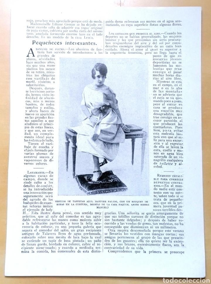 Coleccionismo de Revistas y Periódicos: Dos hojas - Páginas Femeninas, La Mujer Y La Casa Moderna / Extraídas de revista 1919 - Foto 4 - 193323417