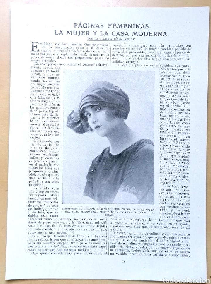 DOS HOJAS - PÁGINAS FEMENINAS, LA MUJER Y LA CASA MODERNA / EXTRAÍDAS DE REVISTA 1919 (Coleccionismo - Revistas y Periódicos Antiguos (hasta 1.939))