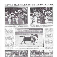 Coleccionismo de Revistas y Periódicos: 1911 HOJA REVISTA MADRID PLAZA DE TOROS TORERO MATADOR 'CHIQUITO DE BEGOÑA' PASE DE MULETA. Lote 194192551