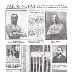 Coleccionismo de Revistas y Periódicos: 1911 HOJA REVIS MADRID FRONTÓN CENTRAL COMBATE BOXEO FRANK CROZIER CAMPEÓN DEL MUNDO EMILLE SCHMIDTI. Lote 194194568
