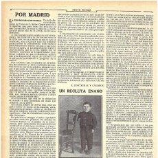 Coleccionismo de Revistas y Periódicos: 1911 HOJA REVISTA CÓRDOBA MONTILLA RECLUTA MOZO DE REEMPLAZO ENANO ANTONIO JIMÉNEZ BAENA. Lote 194197227