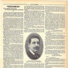Coleccionismo de Revistas y Periódicos: 1911 HOJA REVISTA ESCRITOR JOSÉ MARÍA CARRETERO NUEVA NOVELA 'DESAMOR' FRAGMENTO. Lote 194197312