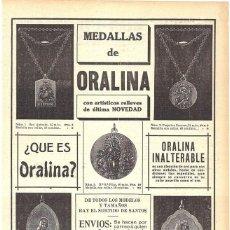 Coleccionismo de Revistas y Periódicos: 1911 HOJA REVISTA PUBLICIDAD ANUNCIO RECORTE DE PRENSA JOYERÍA MEDALLAS ORALINA 'BRILLANTES DE BORO'. Lote 194197455