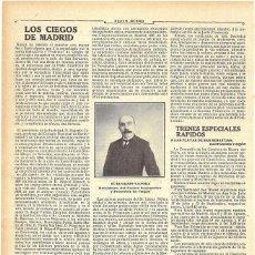 Coleccionismo de Revistas y Periódicos: 1911 HOJA REVISTA MADRID EUGENIO CANORA PRESIDENTE CENTRO INSTRUCTIVO Y PROTECTOR DE CIEGOS. Lote 194197783